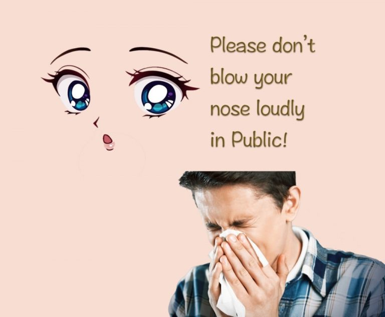 In Japan don't blow your nose loudly in public